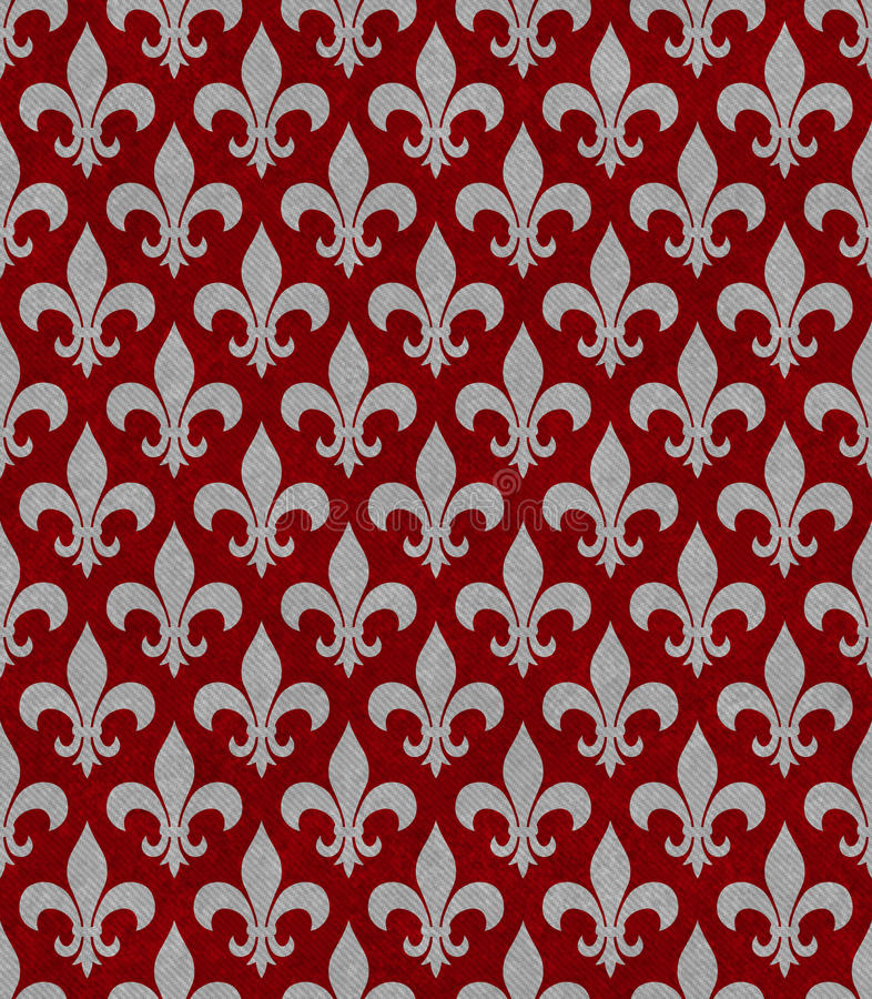 Red and Gray Fleur De Lis Textured Fabric Background royalty free stock photography