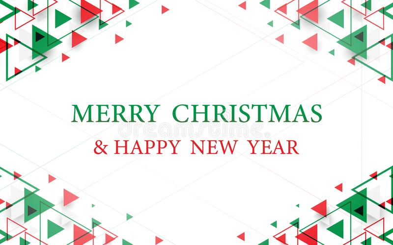 Red and green abstract geometric background. Merry Christmas and Happy New Year postcard vector illustration