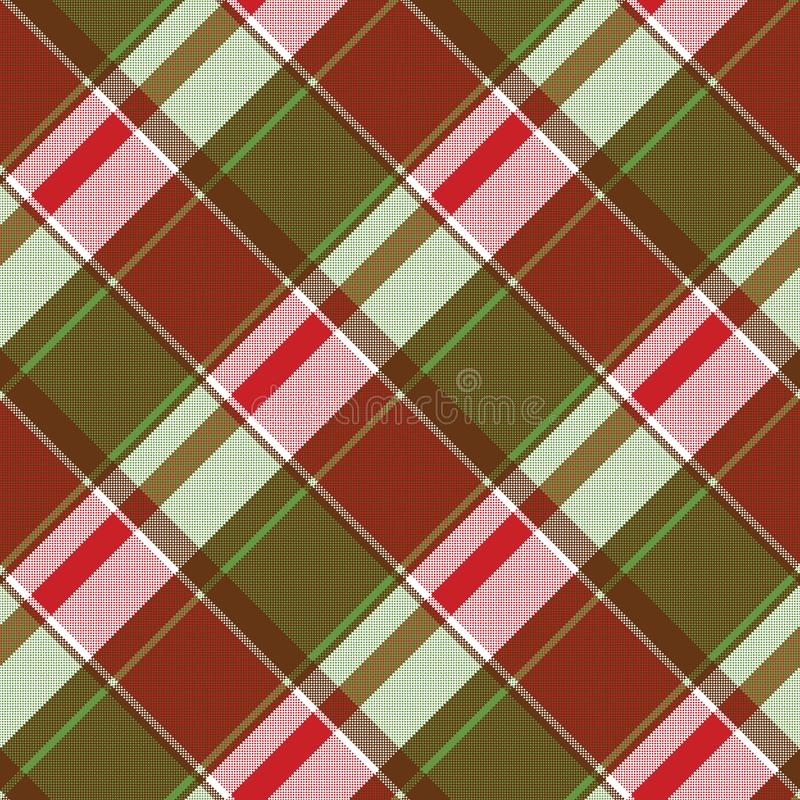 Red green abstract plaid seamless pixel pattern royalty free illustration