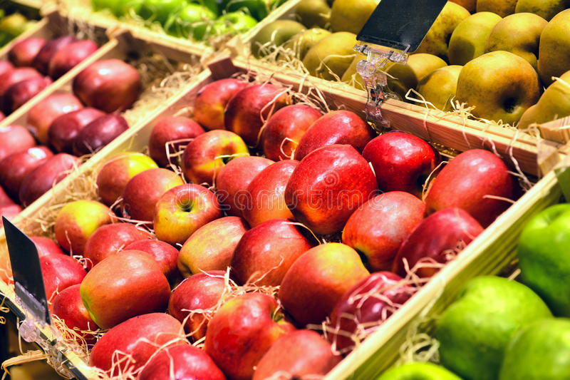 Red and green apple fruits stock photography