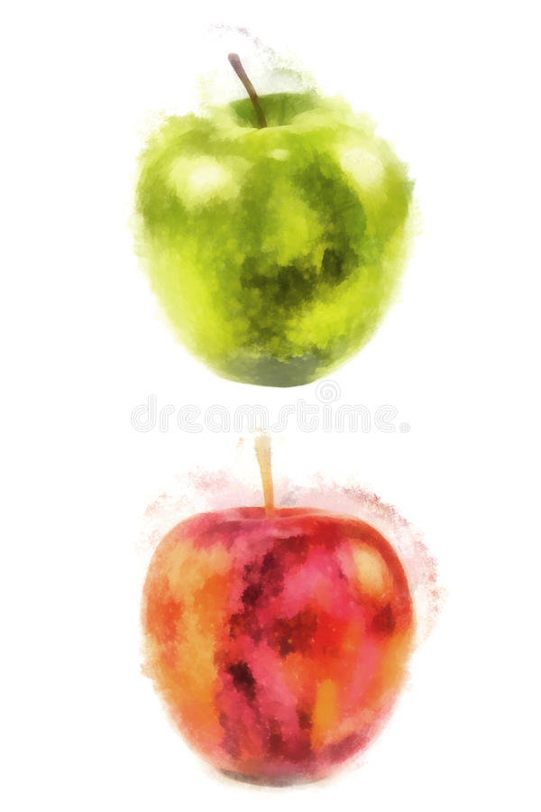 Red and green apple, watercolor painting stock illustration