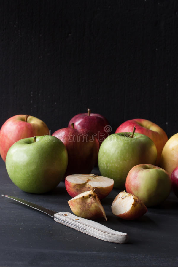 Red and green apples royalty free stock photos