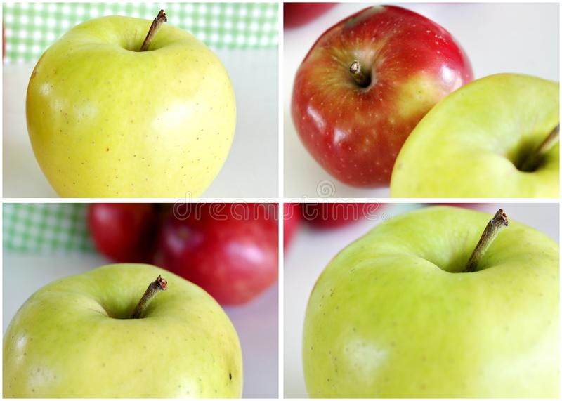 Red and Green Apples Collage stock photos