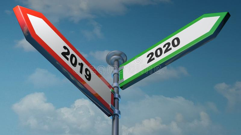 2019 - 2020 red and green arrow street signs pointing to left and right - 3D rendering illustration stock illustration