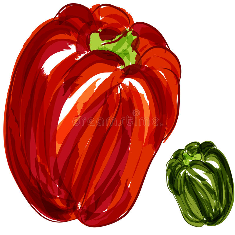Red Green Bell Peppers royalty free illustration