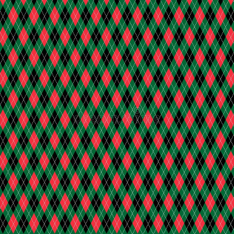 Red green black Christmas argyle pattern. Red green black Christmas argyle vector pattern royalty free illustration