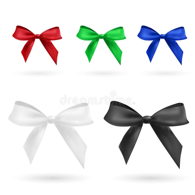 Red, green, blue, black and white bow royalty free illustration
