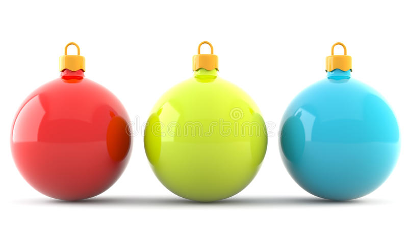 Red, green and blue christmas baubles vector illustration