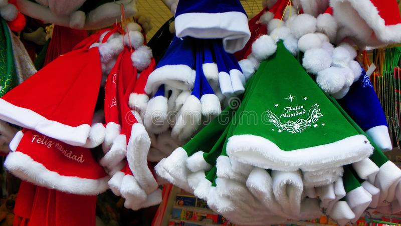 Christmas hats for sale at opened Christmas market in Cuenca, Ecuador. royalty free stock image