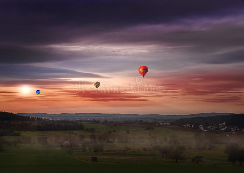 Red Green and Blue Hot Air Balloon Painting royalty free stock image