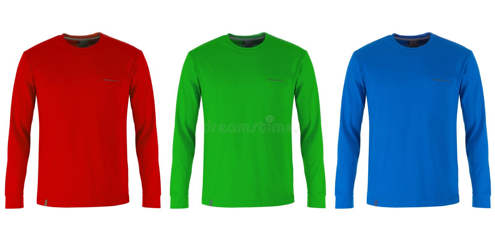 Red, green and blue long sleeve t-shirts stock photography