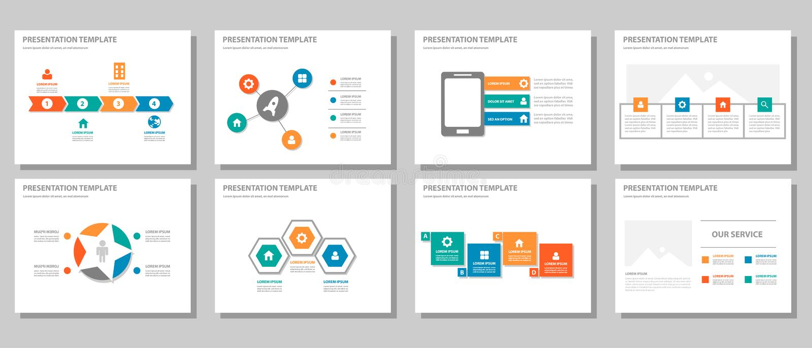 Red green blue orange multipurpose infographic presentation and element flat design set 2 stock illustration