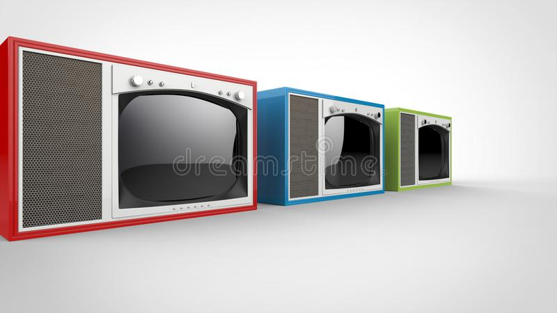 Red, green and blue vintage TV sets with white fronts. Perspective shot royalty free illustration