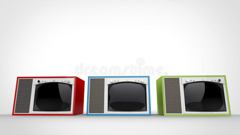 Red, green and blue vintage TV sets with white fronts. On white background vector illustration