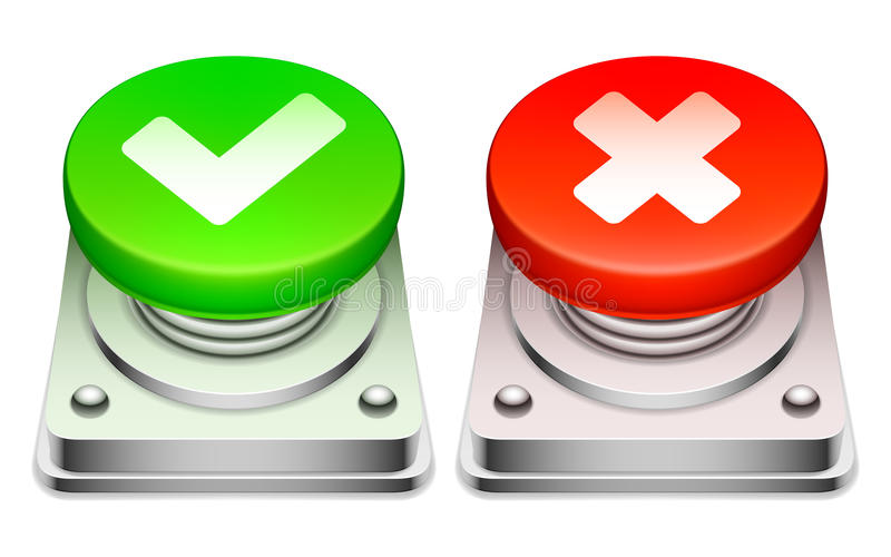 Red and green buttons. vector illustration