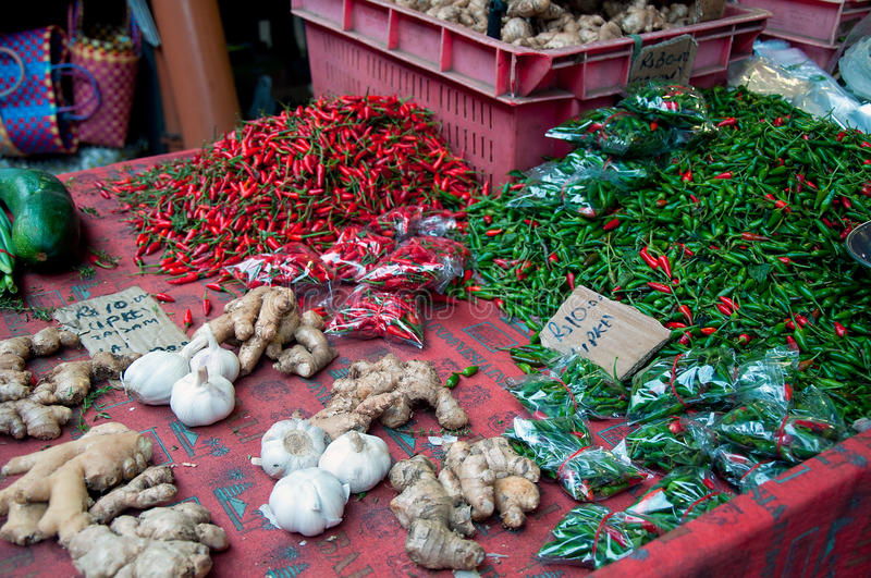Red and green chili for sale. Vegetables local market on Mauritius stock photo