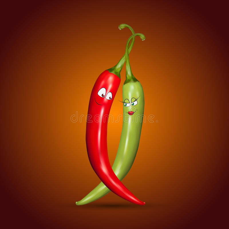 Red and green chilli peppers with smiles royalty free illustration