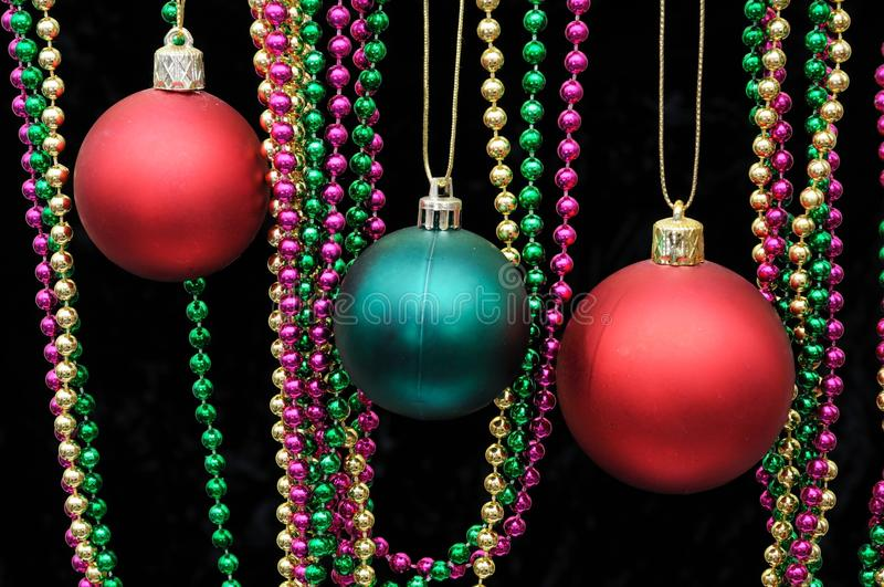 Red and green Christmas baubles. royalty free stock photo