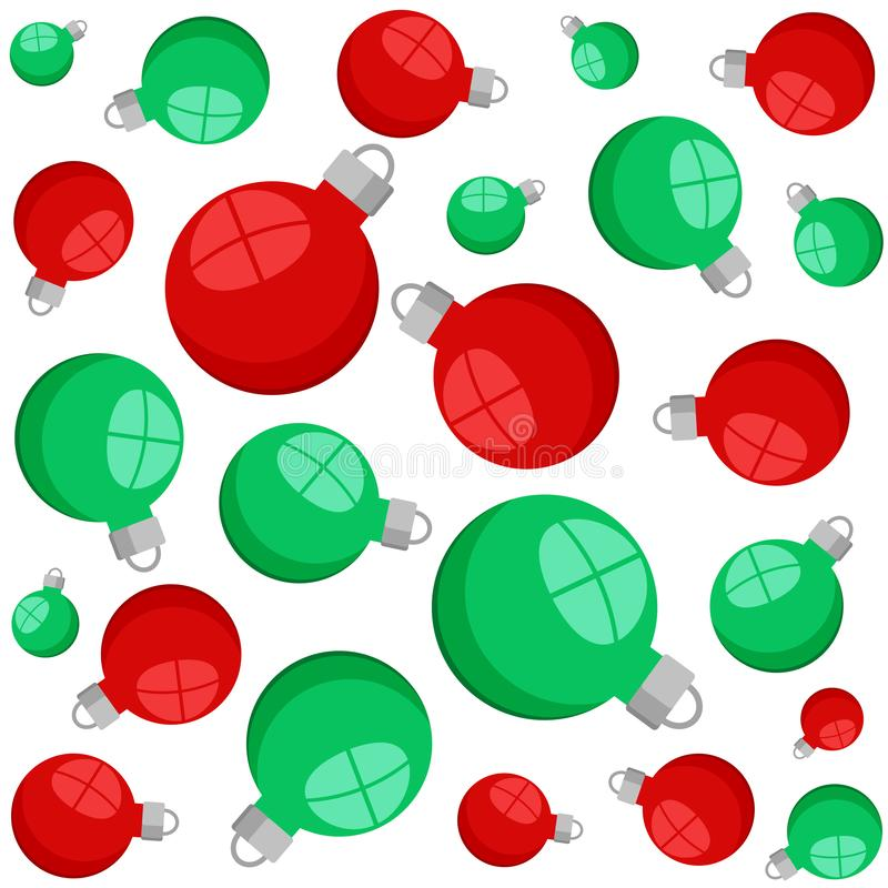 Red and green christmas decorative balls seamless pattern on white, stock vector illustration. Eps 10 stock illustration