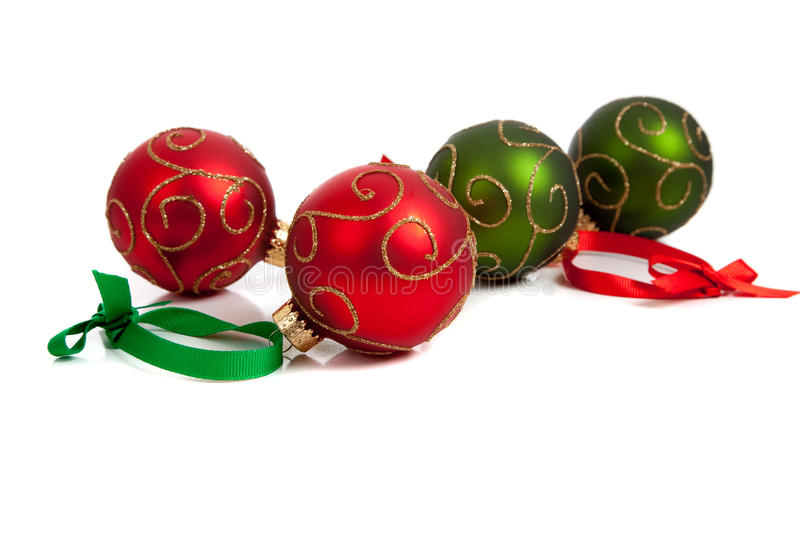 Download Red And Green Christmas Ornaments On White Stock Image - Image: 11636615