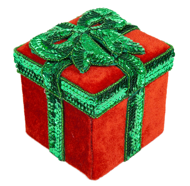 Red and Green Christmas Present Box with Bow. A red and green Christmas present box with a green bow on top of the lid stock images