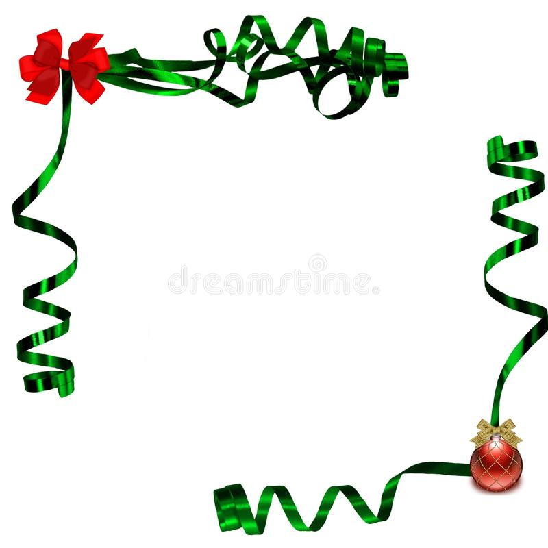 Red green christmas ribbons background royalty free illustration
