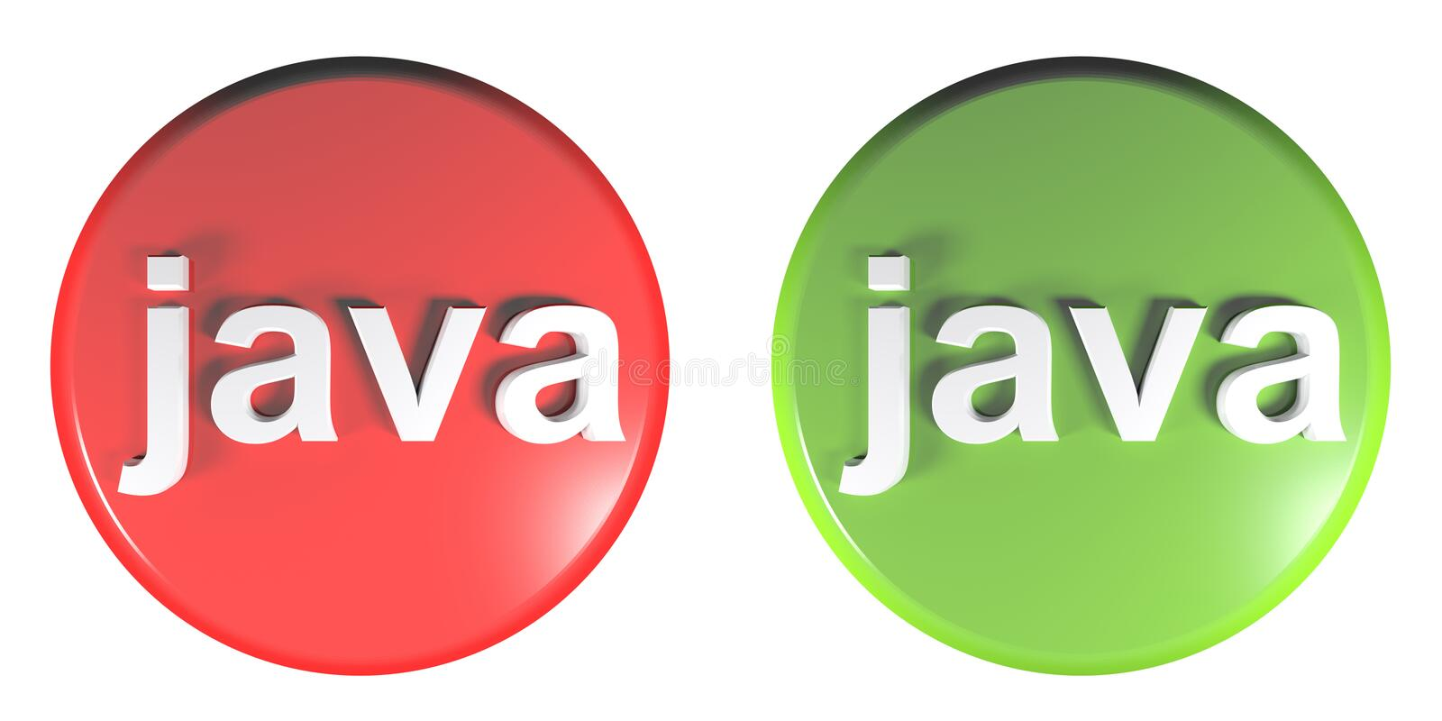 Red - Green circle JAVA push buttons - 3D rendering illustration. Two circle push buttons with the write JAVA: one is red and one is green - 3D rendering royalty free illustration