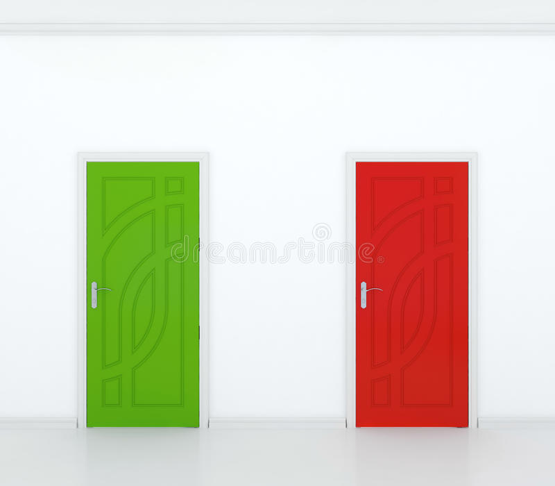 Red and green door stock illustration