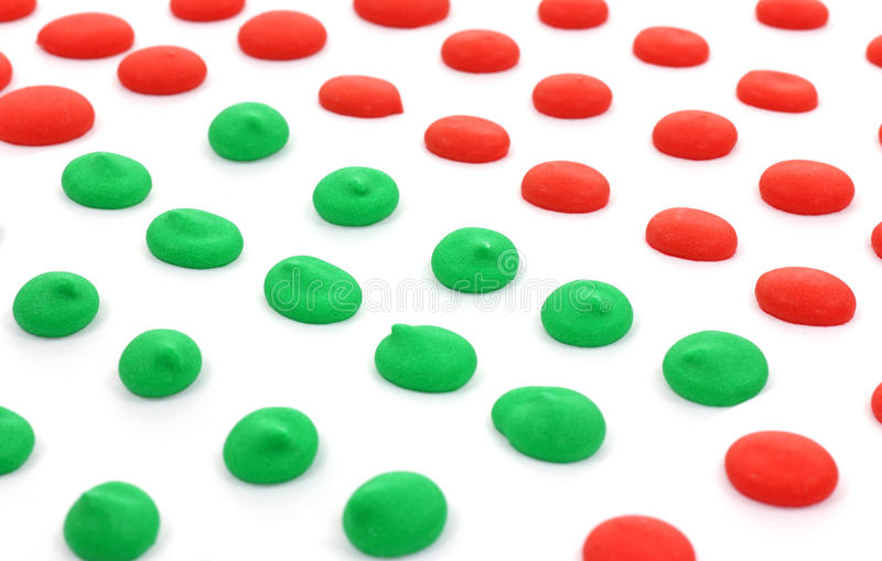 Red and Green Dots Angle up Close