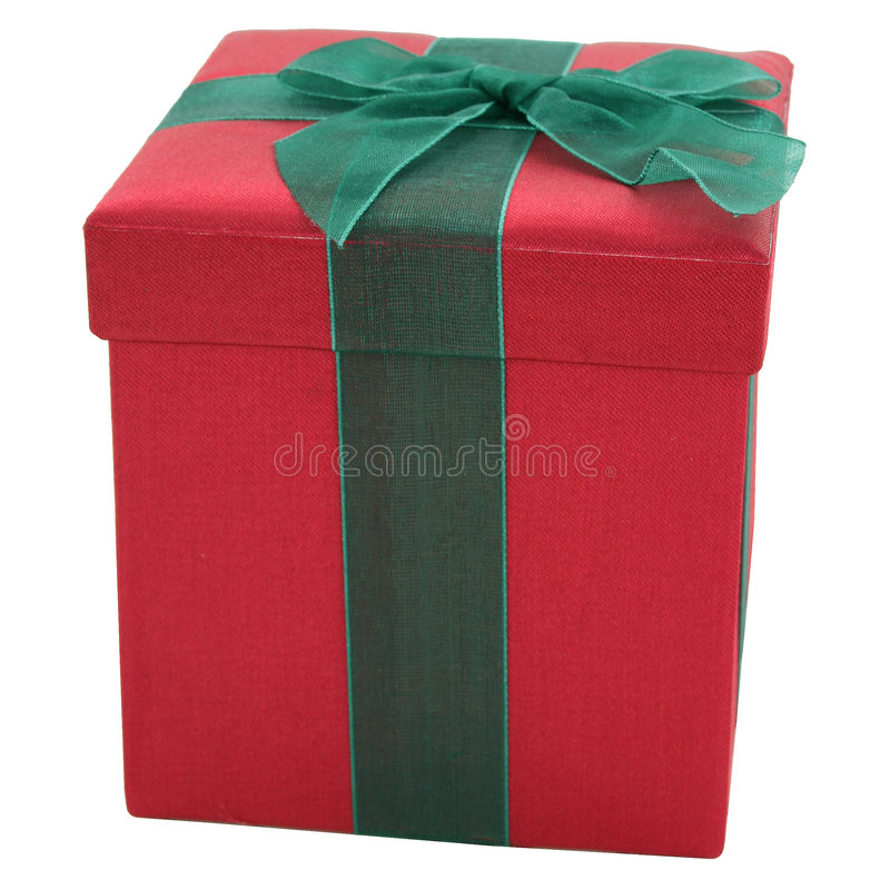 Red and Green Fabric Gift Box stock image