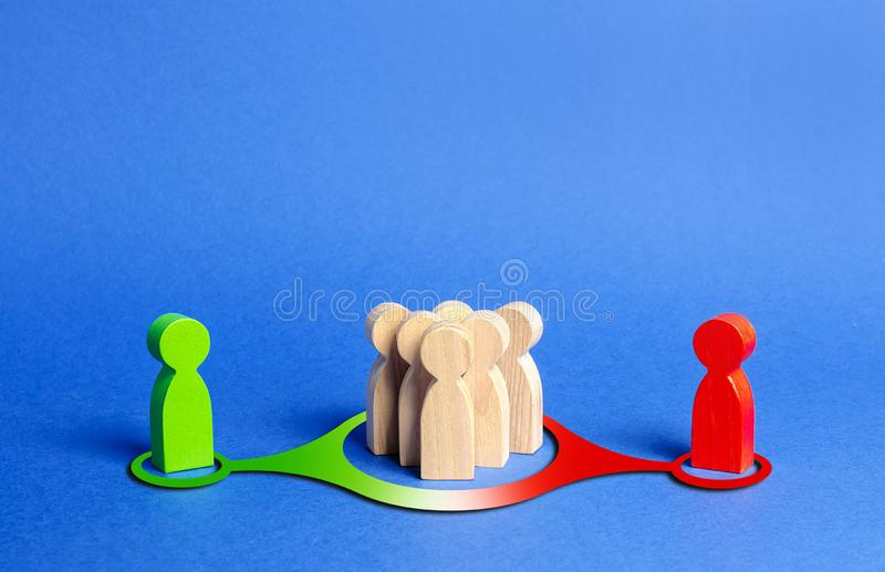 Red and green figures of people influence the crowd. Pressure, influence on public opinion, communicating, point of view, mind. Control. Control media, election royalty free stock photography