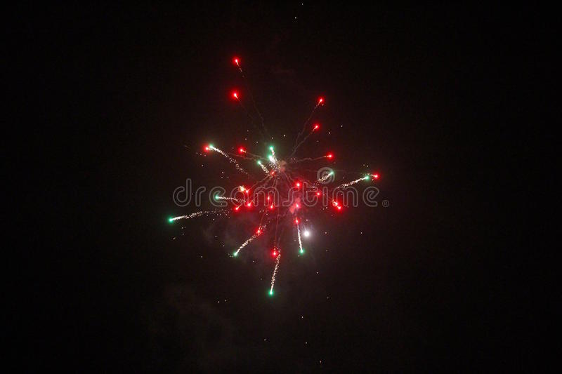 Red and green fireworks so beautiful stock photography