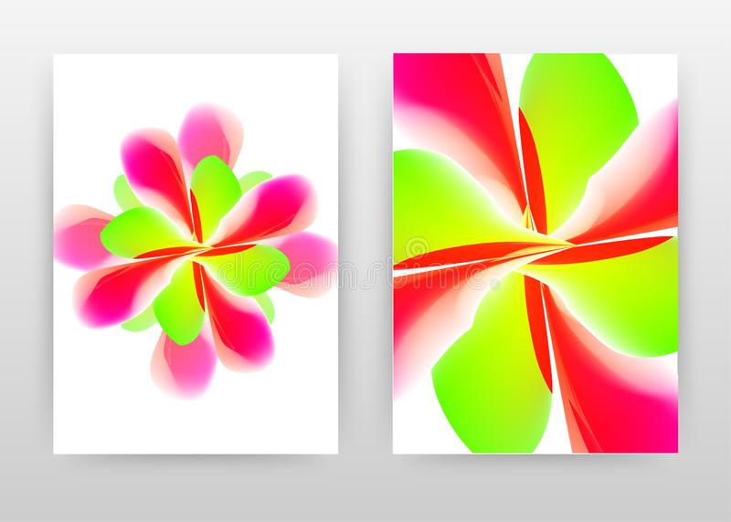 Red green flower concept abstract design of annual report, brochure, flyer, poster. Red green flower petal on white background. Vector illustration for flyer vector illustration