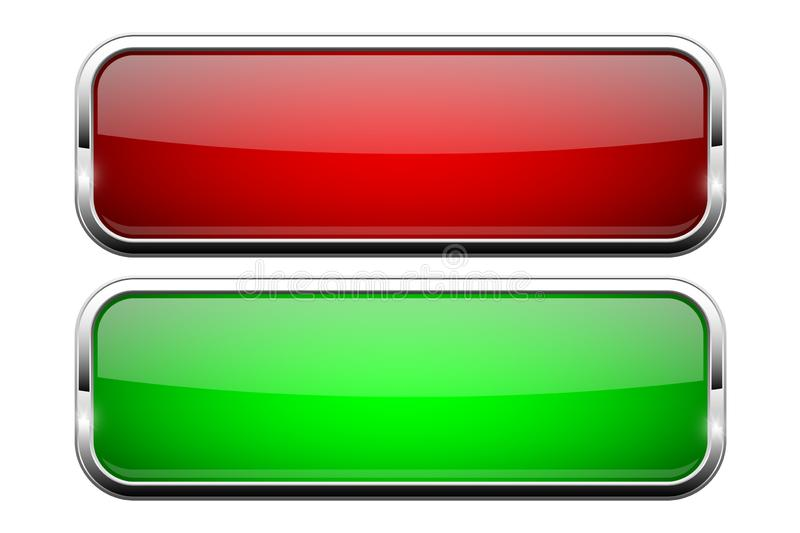 Red and green glass buttons. Shiny rectangle 3d web icons. Vector illustration isolated on white background vector illustration