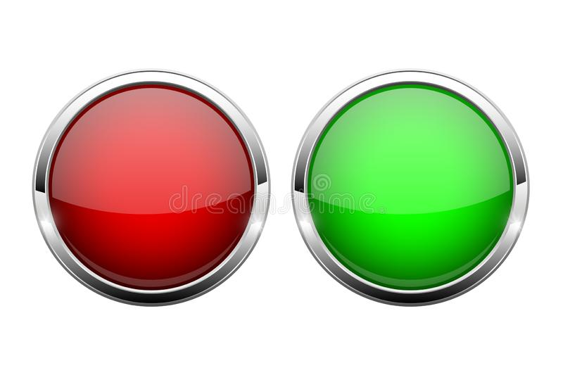 Red and green glass buttons. Shiny round 3d web icons. Vector illustration isolated on white background stock illustration