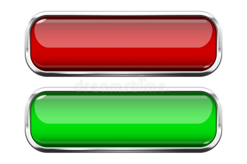Red and green glass buttons. Web 3d shiny rectangle icons with chrome frame. Vector illustration isolated on white background royalty free illustration