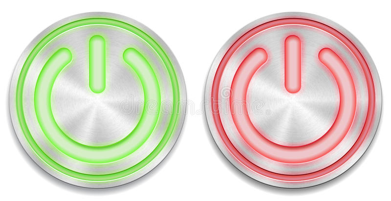 Red and green glowing power button vector illustration