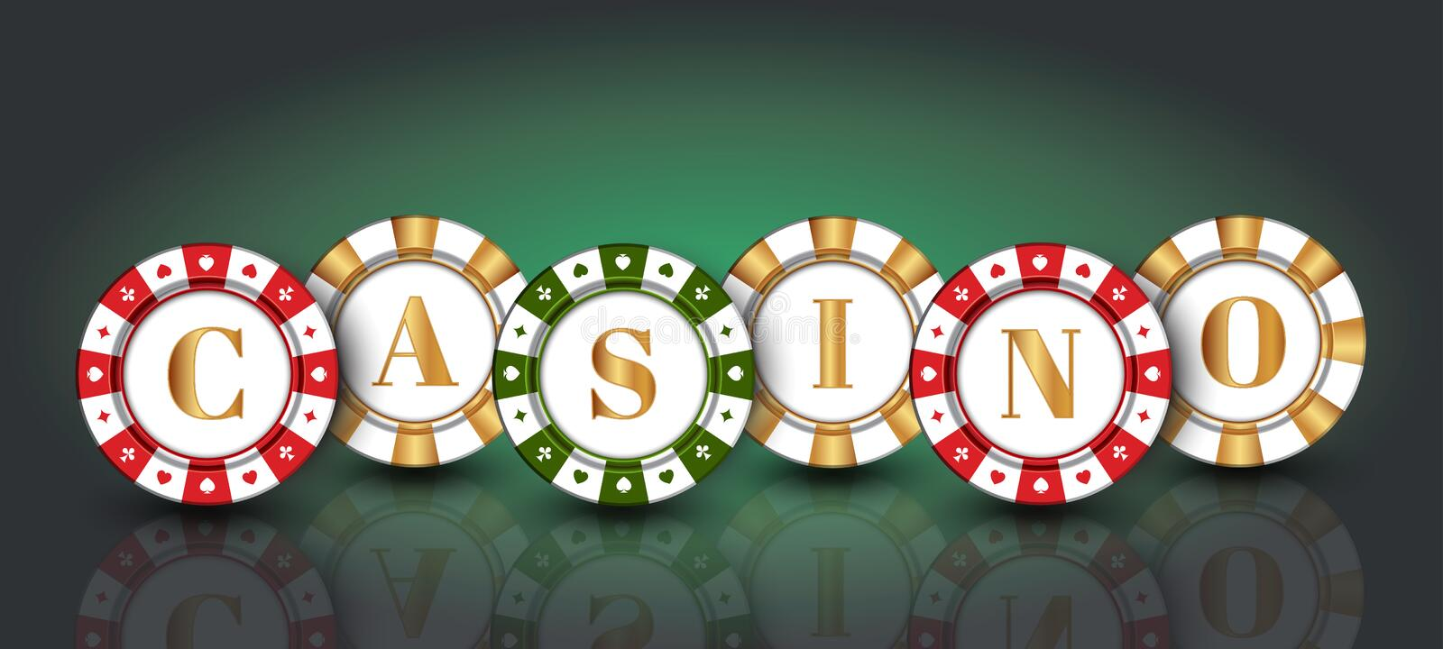 Red-green-gold casino Chips on the green background. Red-green-gold casino Chips on the green gradient background royalty free illustration