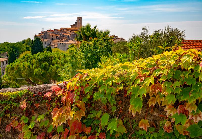 Red and green grape leaves and panoramic view of Saint-Paul-de-Vence town in Provence, France. Jn background. It is a popular tourist attraction known as town royalty free stock image