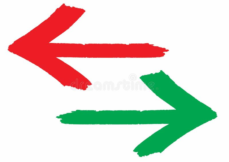 Red and green grungy arrows direction signs painted with hand brush with rough outline stroke. Texture and over white transparent background. Vector stock illustration