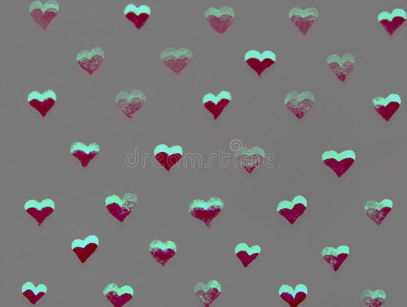 Red and green hearts watercolor stock illustration