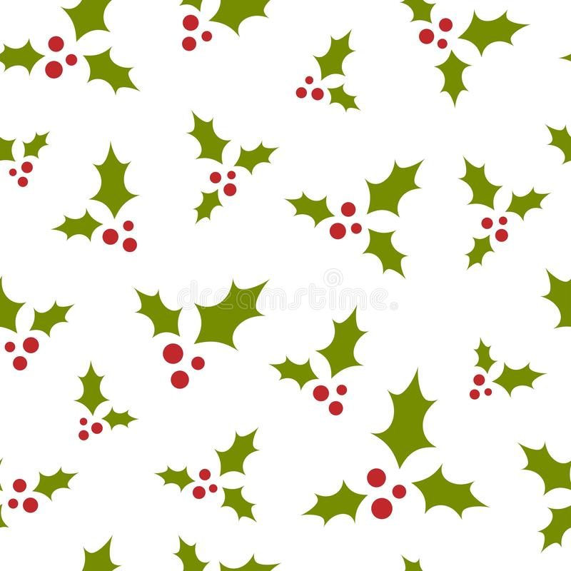 Red and green holly berry on white background. seamless winter pattern. Christmas vector ornament stock illustration