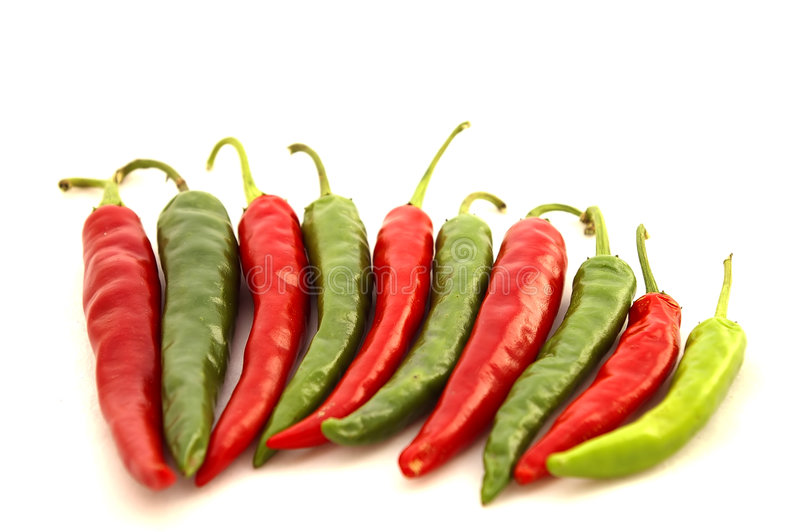 Download Red & Green Hot Chili Peppers Stock Photo - Image: 1394950