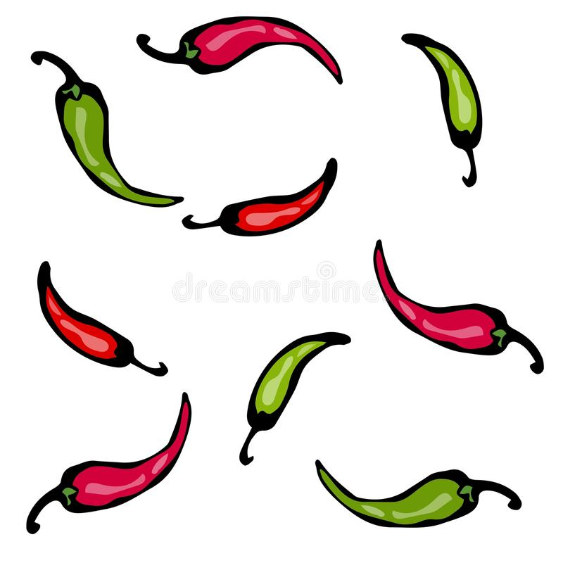 Red and Green Hot Chilli Pepper Sketch. Vector Illustration royalty free illustration
