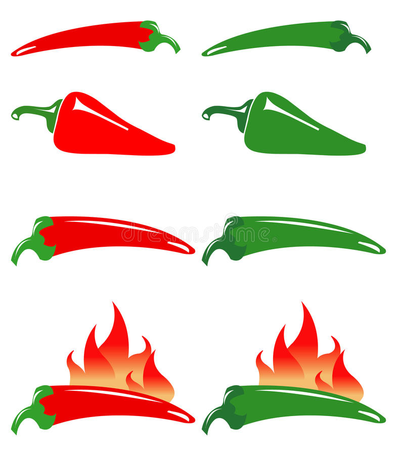 Red and green hot peppers vector illustration