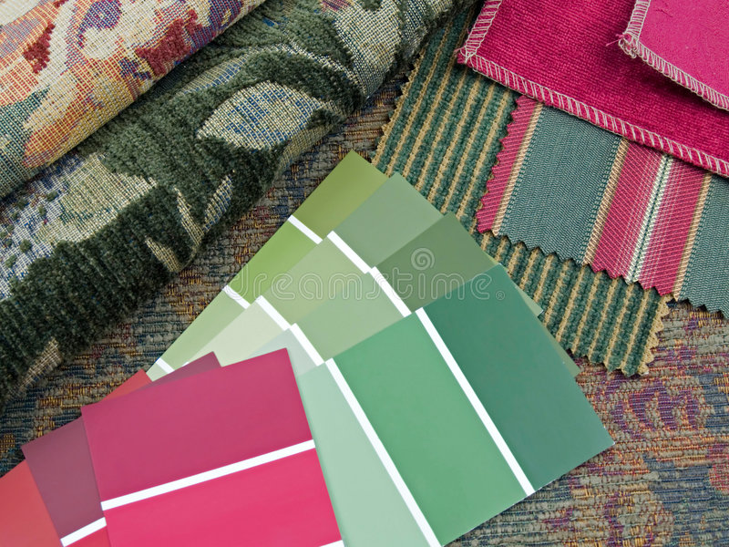 Red and green interior design plan. Red and green paint color swatches, fabric samples royalty free stock photography
