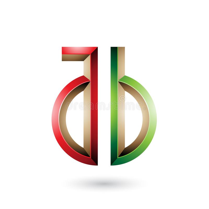 Red and Green Key-like Symbol of Letters A and B isolated on a White Background. Vector Illustration of Red and Green Key-like Symbol of Letters A and B isolated stock illustration