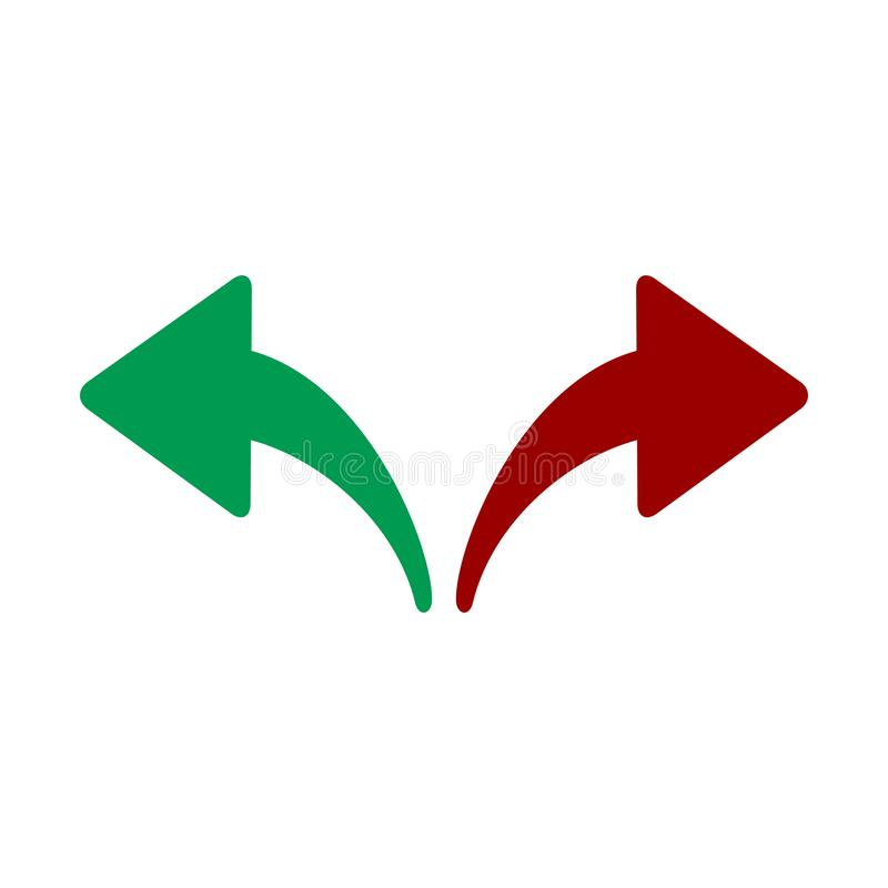 Red, Green Left and Right Arrows. Opposite Directions, Divergence, Forward, Backward. vector illustration isolated on white stock illustration