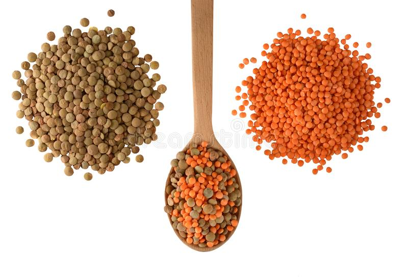 Red and green Lentils isolated on white background. royalty free stock photos