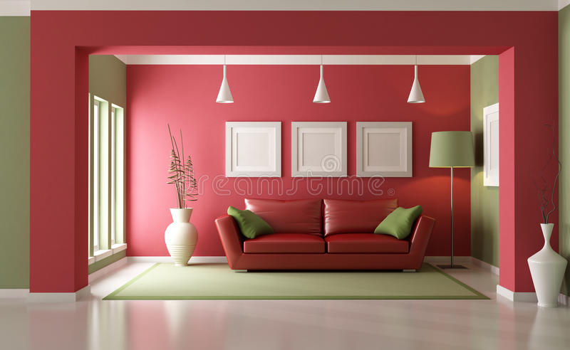 Red and green living room stock illustration. Illustration of ...